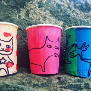 A sample of hand painted coffee cups